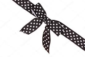 black and white polka dot ribbon black ribbon with dots isolated on white stock photo