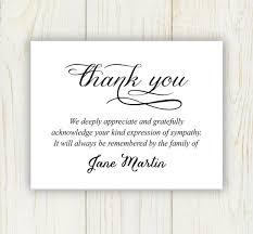sympathy thank you cards funeral thank you card digital file sympathy thank you