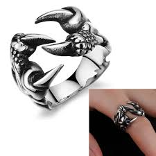 cool mens rings titanium steel jewelry rock style wolf claw cool ring for men