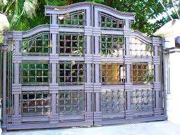 hand made custom designed wrought iron double swing gate by deco