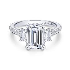 engagement rings emerald cut charlene 18k white gold emerald cut 3 stones engagement ring