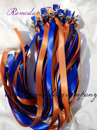 ribbon sticks orange and blue ribbon stick wand wedding favor ribbon sticks