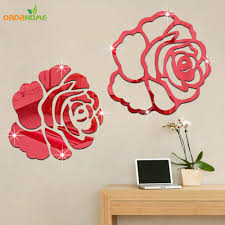 3d wall decor for family room home decor ideas popular wall decor plants buy cheap wall decor plants lots from rose 3d mirror wall stickers for wall decoration diy home decor living room wall decal