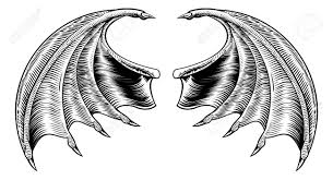 a demon dragon or vampire bat wings horror halloween design in