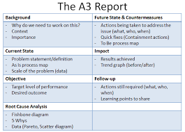 improvement report template lean a3 report template