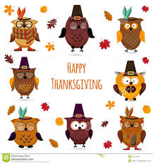 happy thanksgiving clipart free thanksgiving day cute owl set stock vector image 45377618