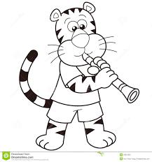 cartoon tiger playing a clarinet stock image image 29910381