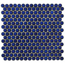 penny round tile  cobalt blue gloss finish  discount glass tile  with image  from discountglasstilestorecom