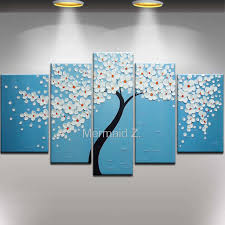 5 piece canvas wall art hand painted palette knife oil aliexpress com buy hand painted modern abstract red tree palette