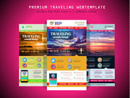 one page travel website flat ui design template it include a