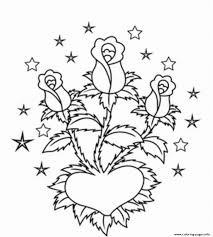 roses in heart valentines se84a coloring pages printable