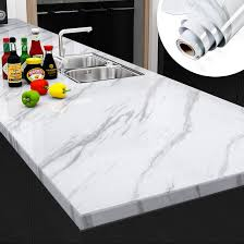best waterproof material for kitchen cabinets yenhome large size 30x118 inches marble white contact paper