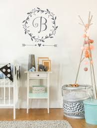 monogram wall decal baby girl nursery wall decal wreath monogram wall decal baby girl nursery wall decal wreath monogram rustic nursery decor custom quote decal scripture wall decal
