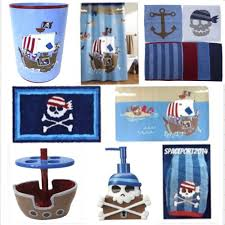 pirate ship set bathroom decor crossbones kids skulls shower