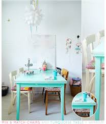 blue painted dining table bright and rustic dining room turquoise table turquoise and room