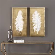 hollywood regency white feather gold leaf box frame set of 2