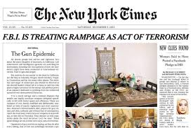 the new york times publishes san bernardino shooting new york times publishes front page