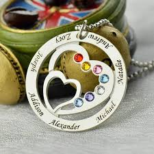 Name And Birthstone Necklace Heart In Heart Birthstone Family Name Necklace Personalized Mother