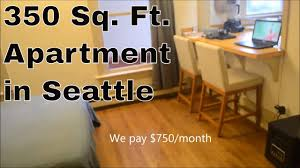 How Many Square Feet Is A 3 Car Garage by 350 Sq Ft Apartment In Seattle Youtube