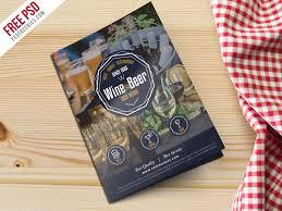 beer and wine menu bi fold brochure template psd psdfreebies com