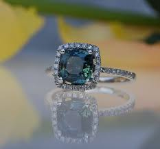 chagne diamond engagement ring 2 2ct cushion peacock green blue color change sapphire diamond