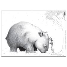 giant wombat black and white illustration posters pinterest
