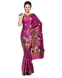 Buy Violet Embroidered Art Silk Buy Purple Color Embroidery Art Silk Banarasi Saree Border Work
