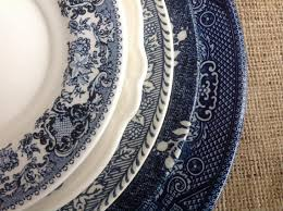 free shipping set of 5 mismatched blue dishes blue