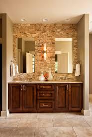 bathroom stone wall tiles double white bowl sink mix grey wood