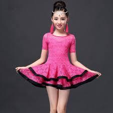 kids samba hot pink dress children ballroom dresses