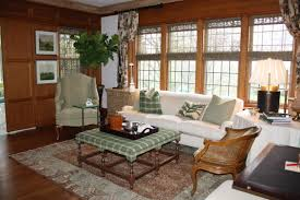 large living room design with brown and white low profile sofa set