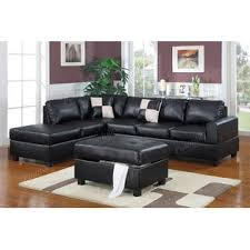 Leather Sectional With Chaise And Ottoman Poundex Black Sectional Couch Leather Sectional Sofa F7355 3 Pcs