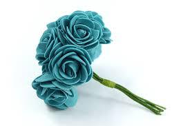 Teal Roses Petite Foam Roses