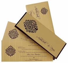 indian wedding cards online indian wedding card in brown and golden with cutout design