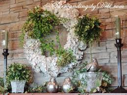 Mantel Topiaries - simple steps to style a spring mantel surroundings by debi