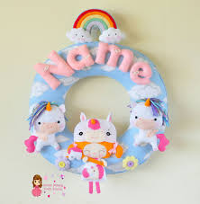 Nursery Decor Toronto Personalized Felt Name Garland Wreath Custom Felt Baby Name