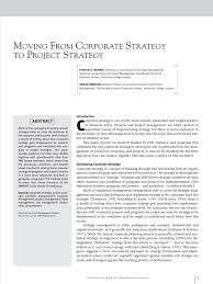 moving from corporate strategy to project strategy project