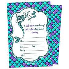 mermaid baby shower glitter mermaid baby shower invitations 10ct
