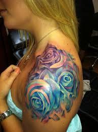 watercolor roses on shoulder for tattooimages biz
