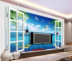 Living Room Tv by Dream Windows Window View Sea Living Room Tv Backdrop Wall Mural