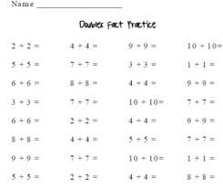 doubles fact s facts practice by s math corner by s math