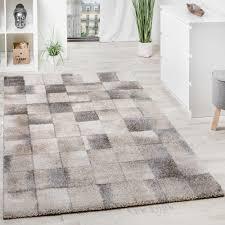 Schlafzimmer Grau Creme Teppich Meliert Modern Webteppich Klein Kariert Hochwertig In