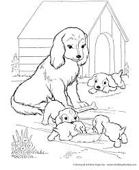 mother dog watches puppies dog coloring animais