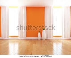 Orange White Curtains Orange Empty Interior White Curtains Vases Stock Illustration