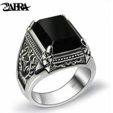 black zircon rings images Zabra real 925 silver black zircon ring for men female engraved jpg