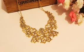free gold necklace images Vintage design jewelry for women engraving flower collar statement jpg