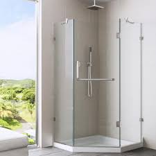 shower with glass doors vigo piedmont 36 125 in x 76 75 in frameless neo angle shower
