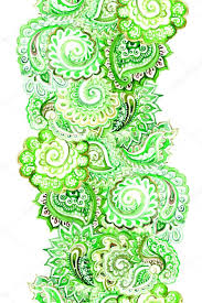 ornamental ethnic edging fringe with green indian lace ornament