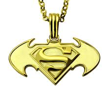 s day necklaces personalized personalized batman superman necklace in gold comics