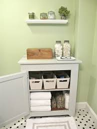 creative bathroom storage ideas two white drop in sinks wall